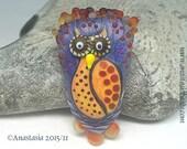 RED OWL...handmade lampwork bead by Anastasia...SRA...ooak...