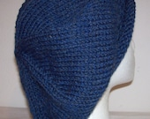 Rolled Brim Wool Tam - Slouchy Knit Beret - Knitted Dreadlock Tam - Blue Heather