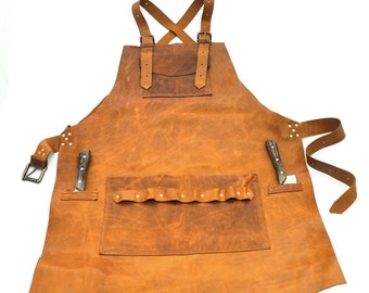 Leather Apron in Blond Italian Leather with Double Knife Sheath Pockets