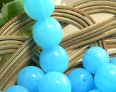 Powder Blue Opal Czech Glass Beads Round Druk Milky Aqua 8mm (30)
