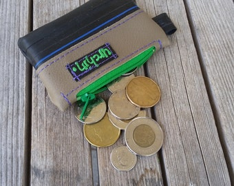 Earth friendly - Vegan change purse -Bike inner tube - bicycle -  coin wallet - repurposed - recycled