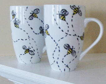 Bee Mugs, Bumblebee Mugs, Set of Two, Honey Bee Mugs, Bumble Bee, Honey Bee, Insects, Summer, Pollenating, Nature,  Hand Painted
