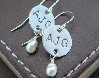 Personalized Initial Earrings - Hand Stamped Sterling Silver - Dangle Charms with Birthstones or Pearls