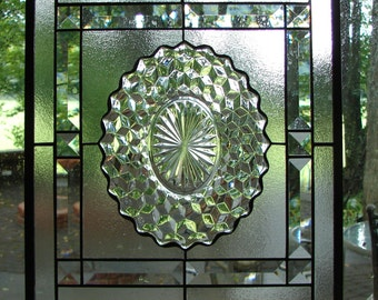 Fostoria American Crystal Cubist with clear bevels stained glass panel