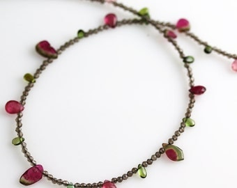 20% OFF Watermelon Tourmaline Necklace - Smokey Quartz - Tourmaline Necklace - Tourmaline Jewelry