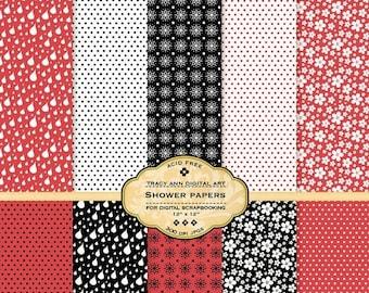 Shower Digital Paper pack for invites, card making, digital scrapbooking