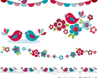 CLIP ART - Red and blue Song Birds, Blossoms and Borders,  commercial and personal use (set 2)