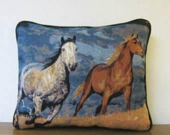 Horses Stallions Storm Tapestry Pillow Blues Black Piping Trim