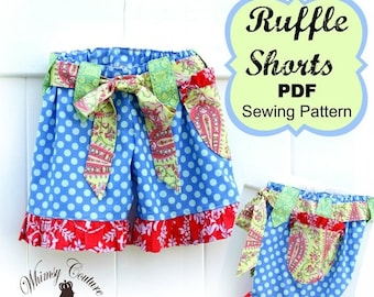 SALE Girls Ruffle Shorts Pattern Sewing Tutorial with option for flat front many sizes PDF Instant