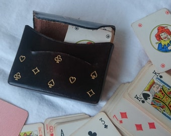 Vintage Miniature Playing Cards in Original Brown Leather Travel Case