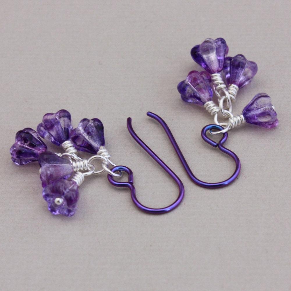 Niobium earrings purple Niobium with Czech glass bell