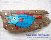 Bubbles the Fish, Original hand painted Driftwood, Folk Art, wall sculpture, handmade, handpainted, earth art, recycled, reclaimed