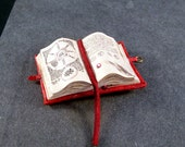Miniature Book Medieval Open Spell Book Ooak Red