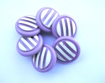 6 Vintage plastic buttons purple with white stripes