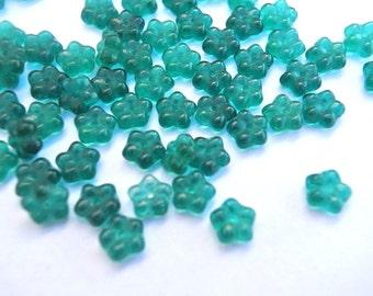 30 Glass flowers beads, Czech, translucent emerald green 7mm, NEW