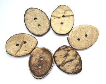 6 Buttons, coconut shell buttons 20mmx25mm