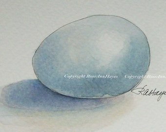Original Watercolor Painting Egg Kitchen Art Housewarming Gift Still Life ACEO Blue