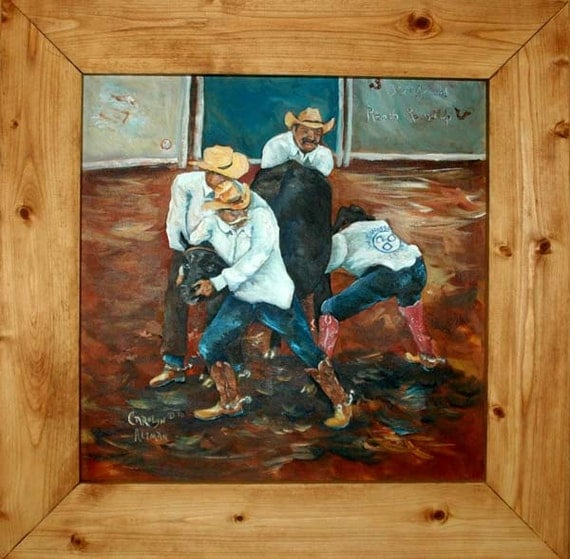 Western Art - Wild Cow Milking a Waggoner Ranch Painting