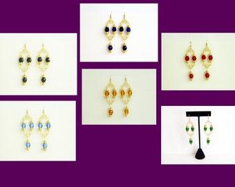 Renaissance Necklace Earrings, Tudor Earrings, Medieval Earrings, Renaissance Jewelry, Tudor Jewelry, U Pick Color, Bridal Earrings