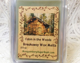 Wax Melts, Cabin in the woods, wax tart melts, breakaway melts, clamshell tarts, Moeggenborg Sugar Bush, bayberry wax Melts, candle melts