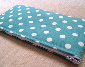 Polka Dots on Soft Teal - Cash Wallet, Clutch, Make Up Bag Large Zippered Pouch - Flat - Ready to Ship