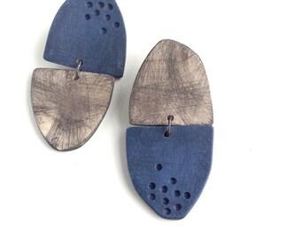 Reflection drop earrings in Inky blue