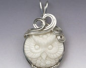 Owl Carved Bone (Bovine) Cameo Sterling Silver Wire Wrapped Pendant - Made to Order, Ships Fast!