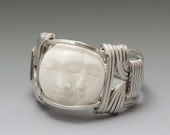 Kims Jewels Carved Bone Bali Double Moon Face Sterling Silver Wire Wrapped Ring