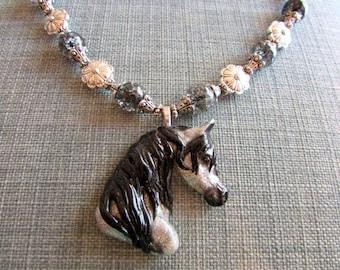 Grey Arabian Horse Head Necklace Pendant