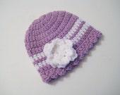 Baby Girl Hat, Crochet Beanie, Newborn Hat, Baby Girl Gift, Baby Shower, Baby Girl Head Warmer - Purple-Orchid Baby Hat - Pick Size