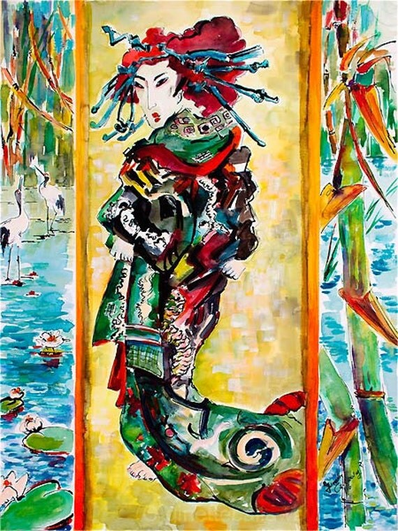The Courtesan after Van Gogh after Keisai Eisen Watercolor and Ink