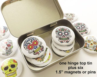 "Day of the Dead Gift Set one hinge top tin + six 1.5"" magnets or pins party favors stocking stuffer sugar skull dia de los muertos halloween"