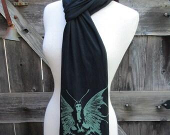 The Green Fairy glow in the dark screenprint jersey scarf