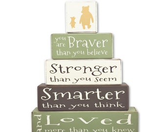 Classic Winnie the Pooh nursery painted blocks piglet classic pooh disney stacking blocks baby shower centerpiece baby wood sign