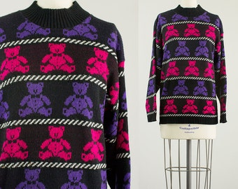 Cherie Vintage // 90s Vintage Black Hot Pink And Purple Teddy Bead Sweater / Size Small / Medium