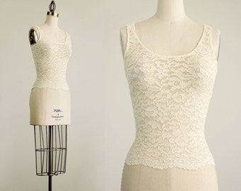 90s Vintage Cream Sheer Stretch Lace Body Con Tank Top / Extra Small