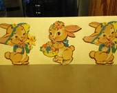 Vintage Die Cut Cardboard 3 Little Old Bunny Rabbits 1950s #5 Epsteam
