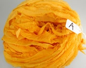 Sari Silk ribbon, Recycled Silk Chiffon Sari Ribbon, Orange sari ribbon, yellow sari ribbon