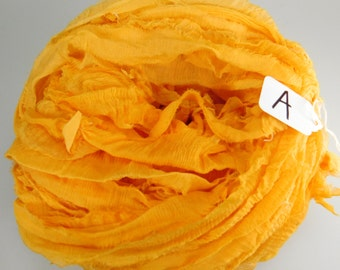 Sari Silk ribbon, Recycled Silk Chiffon Sari Ribbon, Orange sari ribbon, yellow sari ribbon