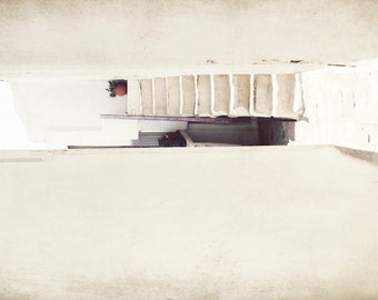 "Greece Wall Art - Minimal Architecture print - Beige White - Greece Photography - Mediterranean Decor  ""Tiny Stairs"""