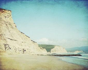 """Beach ocean photography print, sand cliffs pale aqua green coastal wall art marin california wall art """"Sand Cliffs"""""""