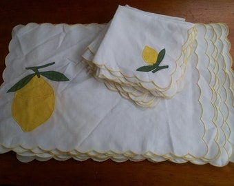 vintage set of 8 LEMON table fabric placemats and napkins