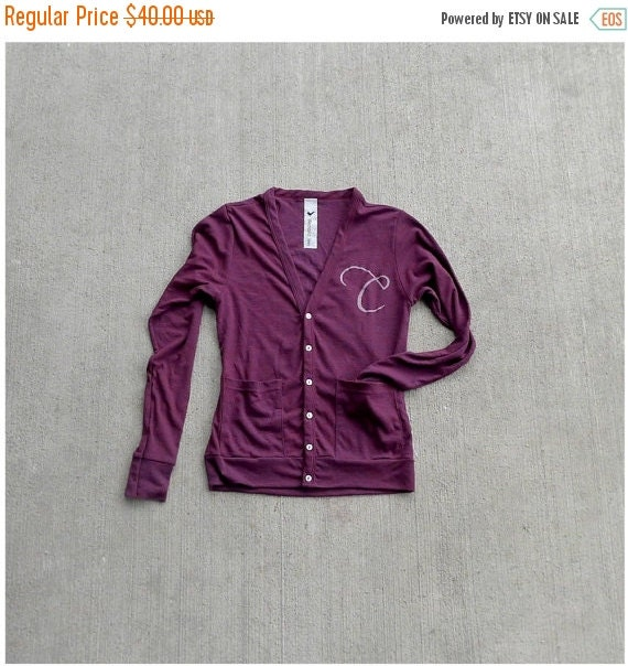 SALE The Boyfriend Cardigan - MENS / UNISEX sweater - custom monogram - hand printed initial - monogrammed gift - Closeout