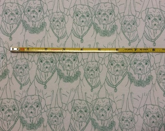 NEW Art Gallery Pug Ville Vert on cotton Lycra  knit fabric 1 yard.