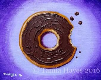 Original Big Eye Art Acrylic Painting Tamia Chicasol Chocolate Donut Doughnut Pastry Bakery Food Frosting