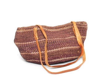 SISAL woven jute 70s 80s BOHEMIAN tan leather bucket TOTE purse bag
