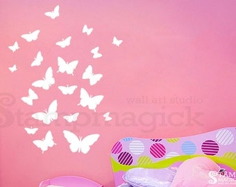 Butterflies Wall Decal Vinyl Stickers - white or choose color - vinyl wall art decor - K330