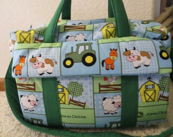 John Deere Farm Animal Diaper Bag w/change pad by EMIJANE