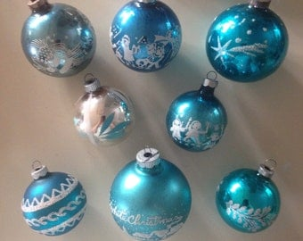 8 vintage glass ornaments, Shiny Brites and others in blue, pretty stencils and glitter