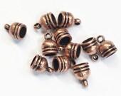 40 pcs of Antique copper alloy glue in end caps 7x11mm, bulk antique copper glue in caps, antique copper end caps